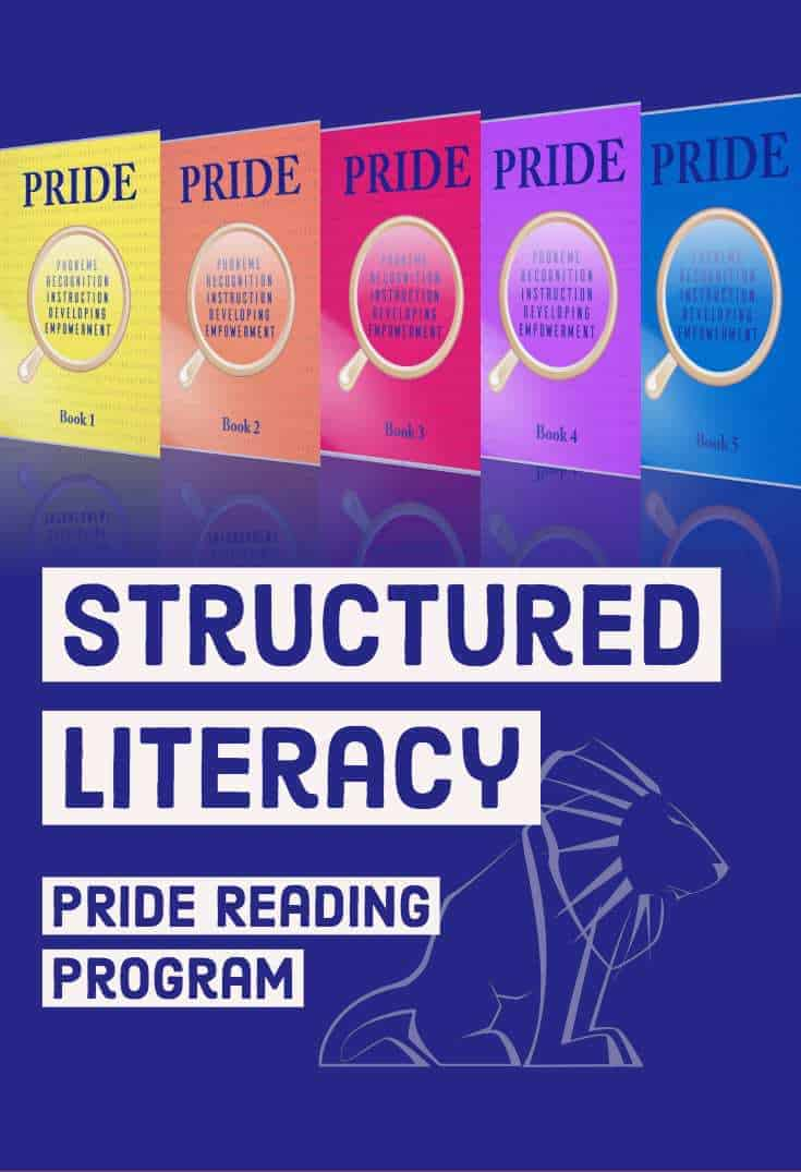 Structured Literacy Instruction with PRIDE Reading Program.  Here are all the elements of a structured literacy program using a multisensory, heavily scripted out and easy to use Orton-Gillingham program.  #structured #literacy #readingintervention #dyslexia #ortongillingham #ogtutor #parent #teacher