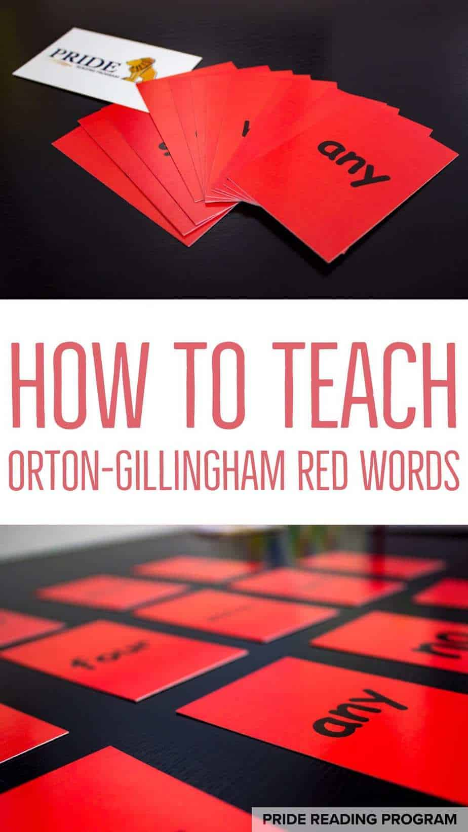 How to teach Orton-Gillingham Red Words (sight words).  Here you can view an Orton-Gillingham lesson - see it here in action! #pridereadingprogram #ortongillingham #teachreading #teachspelling #homeschoolcurriculum #OGtutor #readingtutor #dyslexia