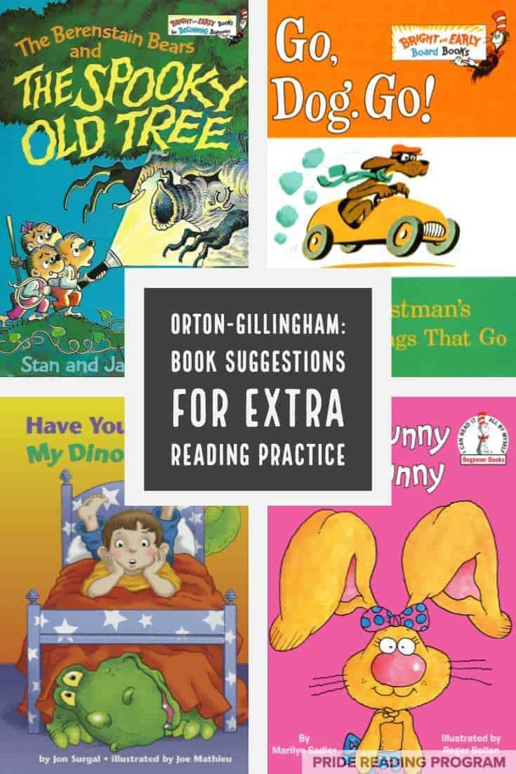 Orton-Gillingham tutors, teachers and homeschooling parents  - here is a list of books you can use to encourage more reading practice outside of your Orton-Gillingham lessons.  I am basing the Levels on The PRIDE Reading Program, but in general it should work with whichever OG program you are using.  #ortongillingham #ogtutor #dyslexia