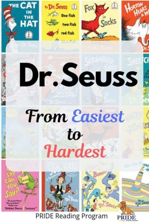 Reading with Dr. Seuss: From Easiest to Hardest.  Here are all the Dr. Seuss books listed in order and by grade level to make it easy for you to find the right reading level for your child.  #drseuss #kids #parenting #education #literacy #homeschool