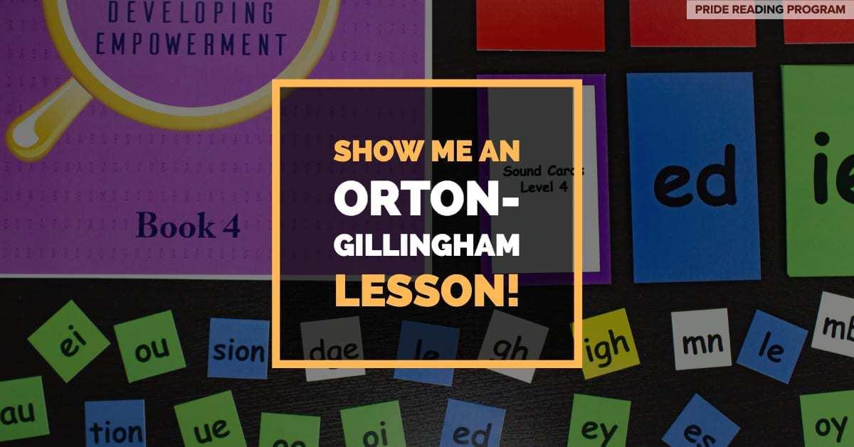 Show Me An Orton-Gillingham Lesson! - PRIDE Reading Program