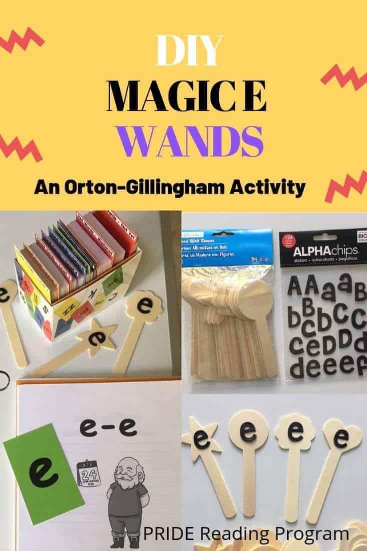 DIY Magic e Wands: An Orton-Gillingham activity. When an e is added  to the end of a short vowel sounding word, it changes the sound and also the meaning of the word.  The silent e makes the vowel sound long and say its name.  For example, rid becomes ride.  Here is  a really great Orton-Gillingham activity that you can use to help your students learn the silent e as well as a list of words you can use to practice it.
