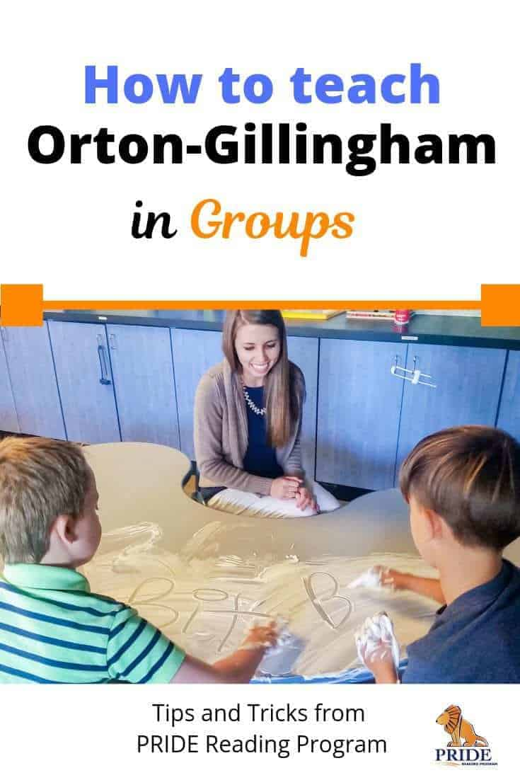 How to teach Orton-Gillingham in groups.  Orton-Gillingham is meant to be taught as a 1:1 multisensory approach.  Sometimes this isn't an option, and you have to teach it in a group setting.  So… will it still work and be effective?  YES, it will.  Here is how to teach Orton-Gillingham in groups, and teach it effectively so that every student progresses. #ortongillingham #teacher #readingintervention #literacy #phonics #readinggroups