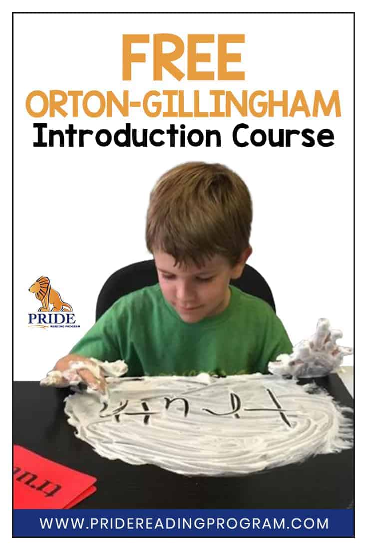 This FREE Orton-Gillingham Introduction Course will provide you with an understanding of the Orton-Gillingham methodology and give you lots of teaching tips and strategies that you can use with your students right away.  #ortongillingham #literacy #readingintervention #sped #slp #homeschool #teacher #dyslexia