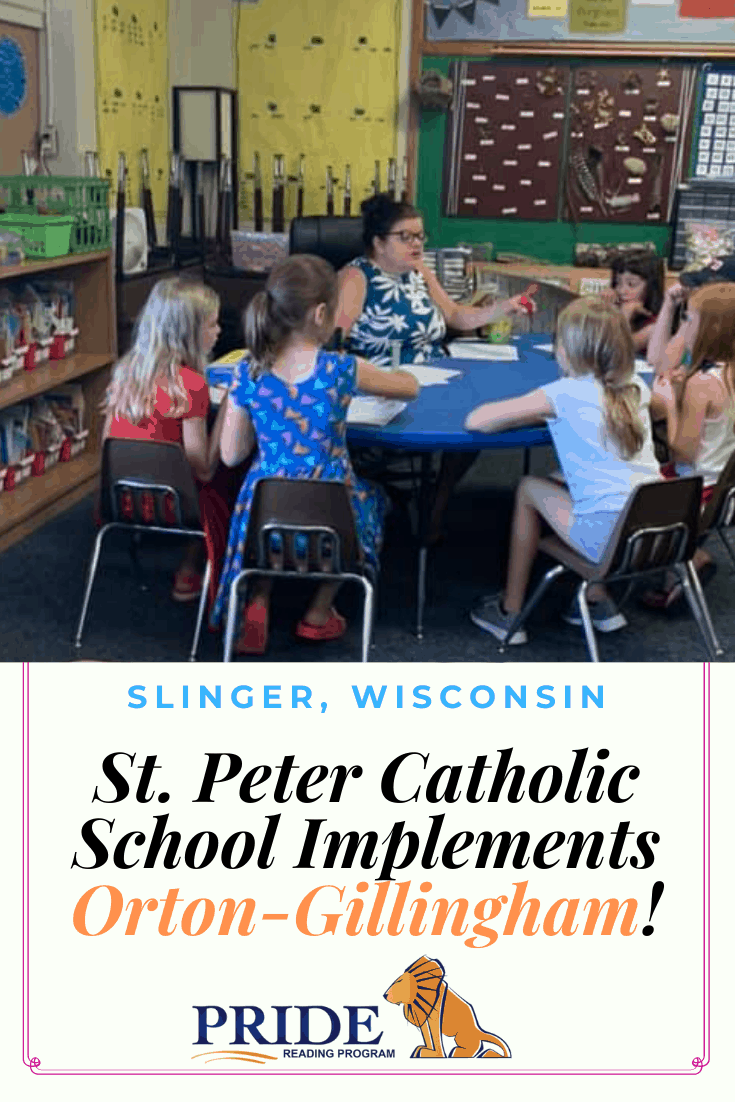 The PRIDE Reading Program has announced that the St. Peter Catholic School - Diocese of Milwaukee in Slinger, Wisconsin has implemented the PRIDE Reading Program, Orton-Gillingham, structured literacy curriculum for its students with dyslexia and learning differences.  #ortongillingham #catholiceducation #pridereadingprogram #specialeducation #dyslexia