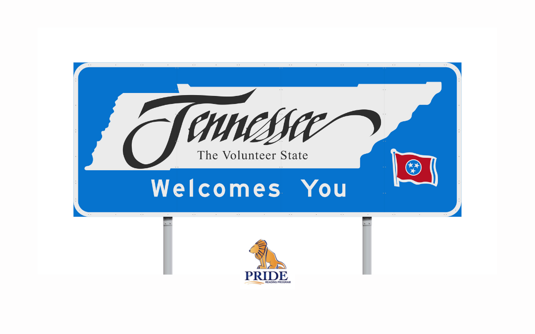 A state of Tennessee welcome sign with the PRIDE Reading Program logo below it
